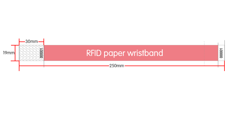 Ntag213 Paper Wristband size:250*19mm