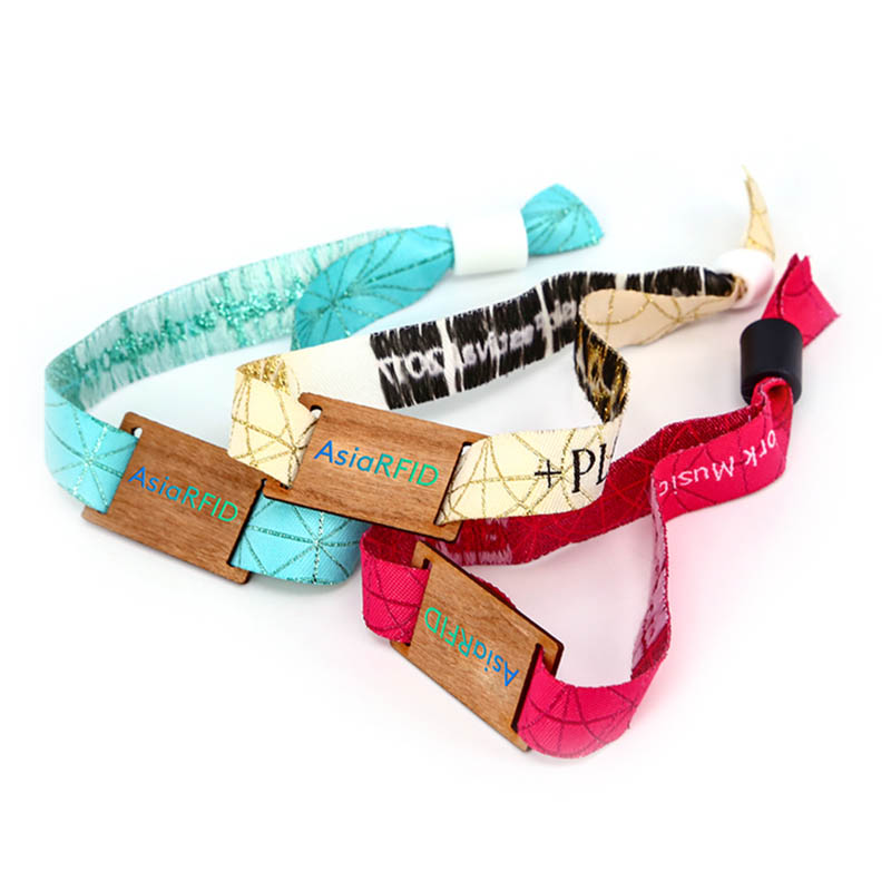 Wooden ntag215 fabric wristband